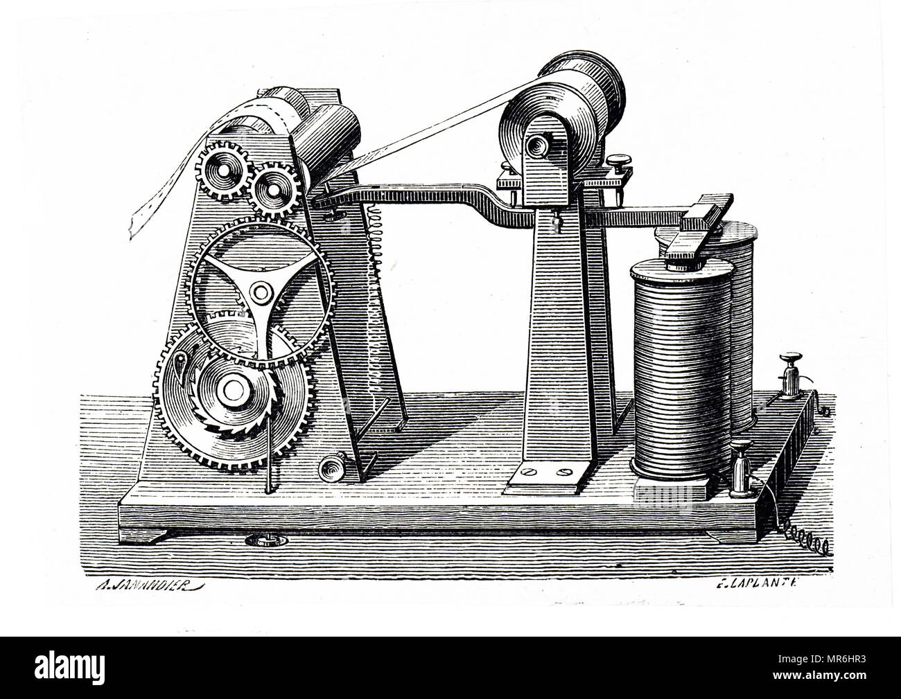 Engraving depicting an operator receiving a message on a Morse telegraph at the General Post Office. Dated 19th century - Stock Image