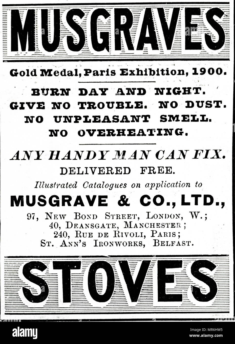 Advertisement for Musgraves Stoves used for cooking in homes. 1900 - Stock Image