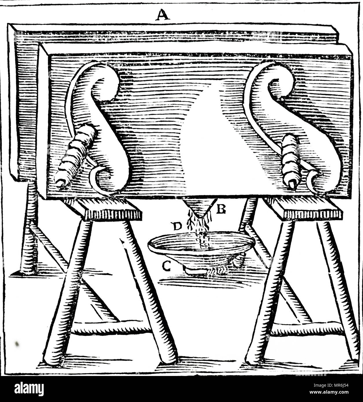 Woodcut engraving depicting a pressing honeycomb to obtain the second grade of honey. Dated 18th century - Stock Image
