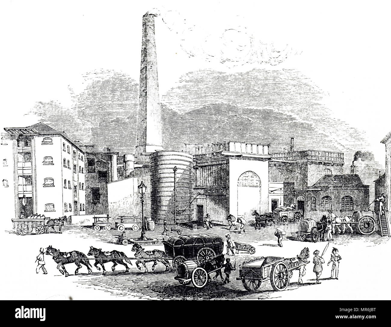 Engraving depicting a view of Octavius Smith & Co's distillery, Thames Bank. The design for the chimney was inspired by 'Cleopatra's Needle'. Dated 19th century - Stock Image