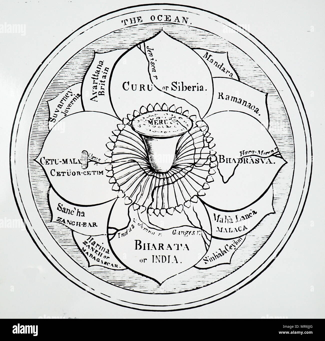 An early depicting of the Hindu system of the universe. The abode of the gods, Meru, is in the centre - the flower of the lotus. The countries known to the Brahmins are shown surrounding Meru, then there is an area of sea and ocean. The Earth is thought of as a flat disk. Dated 17th century - Stock Image