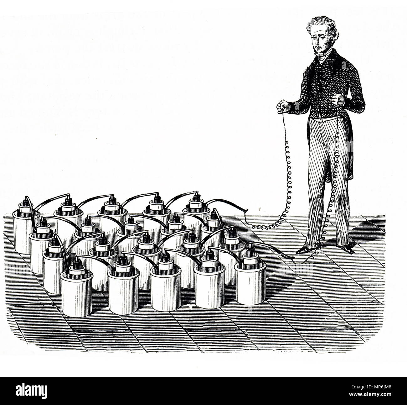 Engraving depicting a battery of twenty cells used to give therapeutic shocks. Dated 19th century - Stock Image