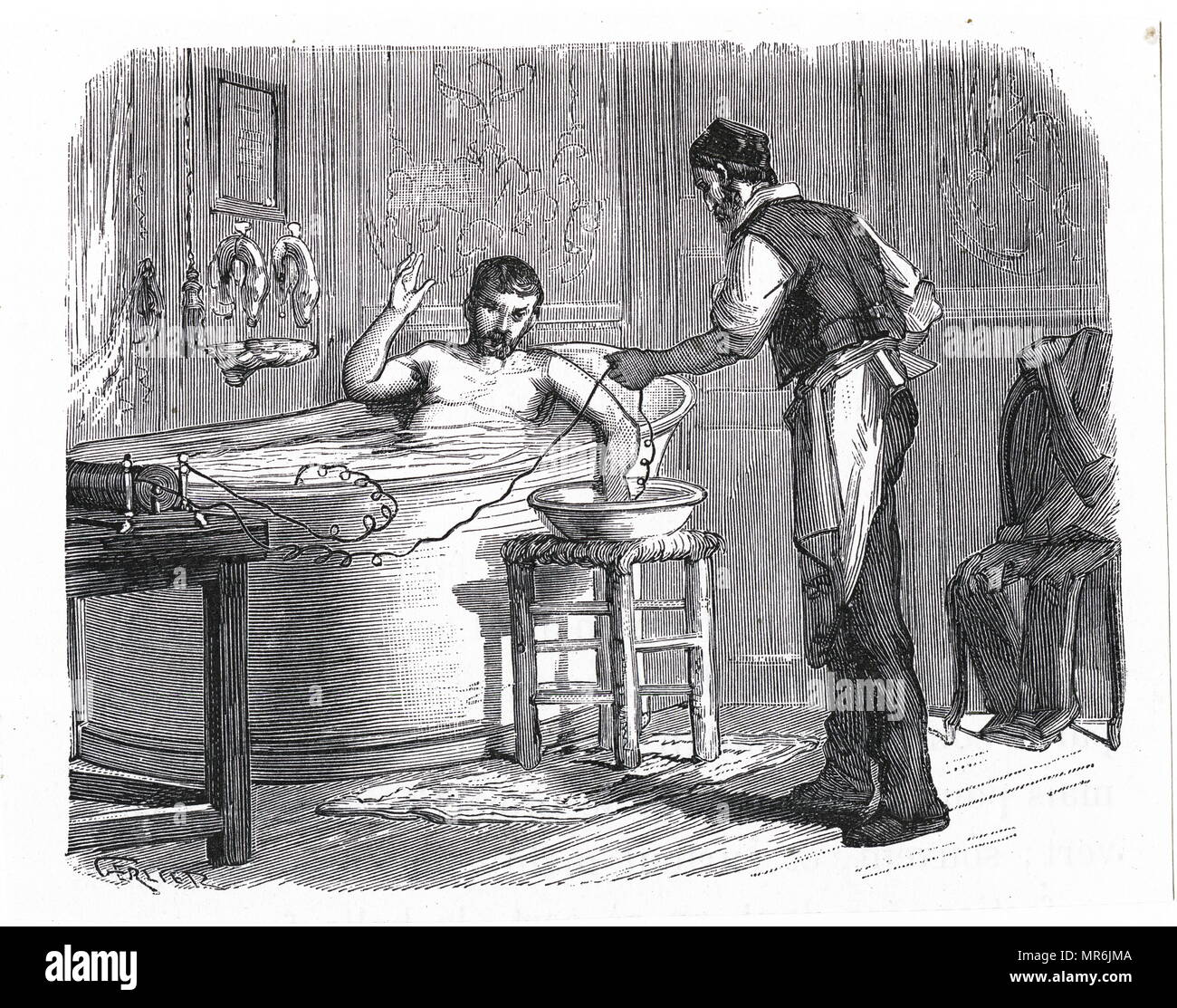 Engraving depicting a coil being used to give therapeutic shocks to a patient in a saline bath. Dated 19th century - Stock Image