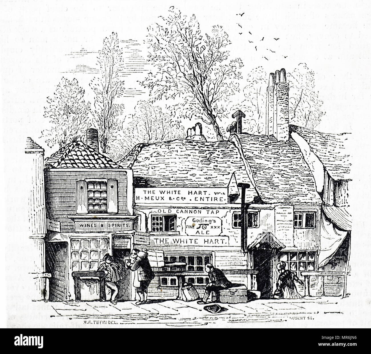 Engraving depicting the White Hart Inn, Knightsbridge, London. This inn was a watering homes for hackney carriage as well as a resting place for porter. Dated 19th century - Stock Image