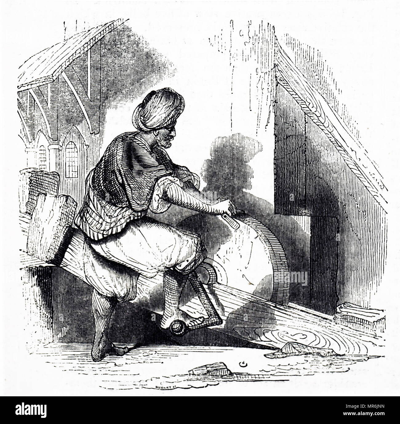 Engraving Depicting An Egyptian Cutlery Grinder Turning His Grindstone With A Crank Moved By Foot Dated 19th Century