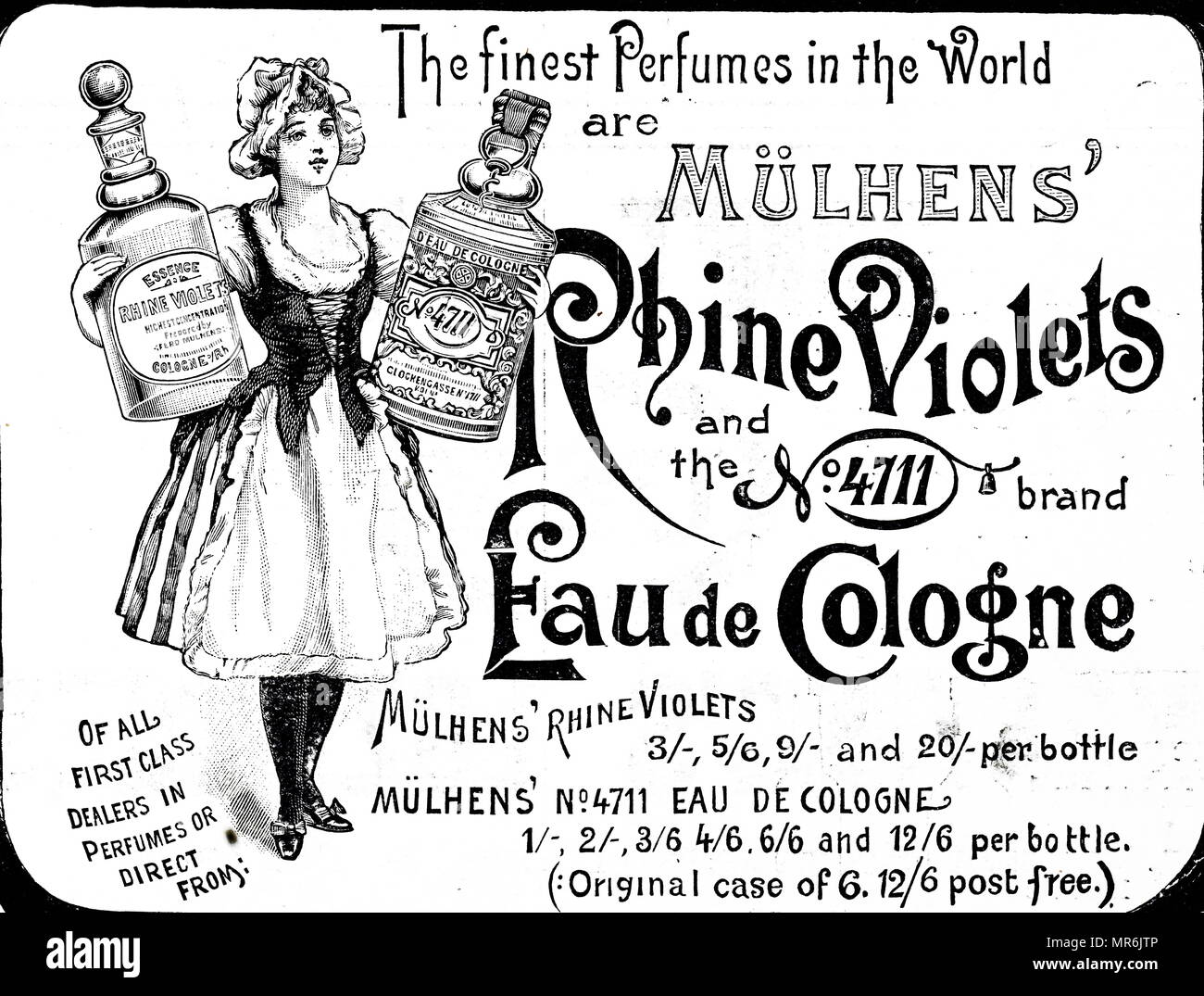 Advertisement for Mülhen perfumes. Dated 20th century - Stock Image
