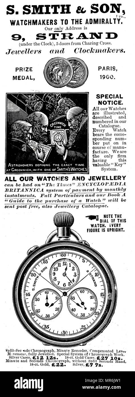 Advertisement for the Strand Jewellers and Clockmakers. Dated 20th century - Stock Image