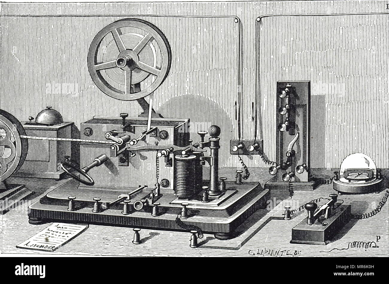 Engraving depicting a Morse-Digney printing telegraph equipment, showing the receiving instrument, left, and transmitting key, right foreground. Dated 19th century - Stock Image