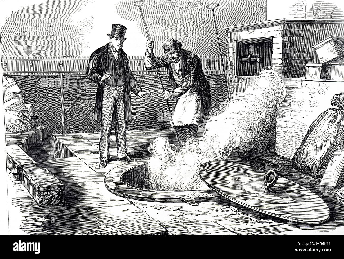 Engraving depicting the burning of returned bank notes unfit for re-issue. Dated 19th century - Stock Image