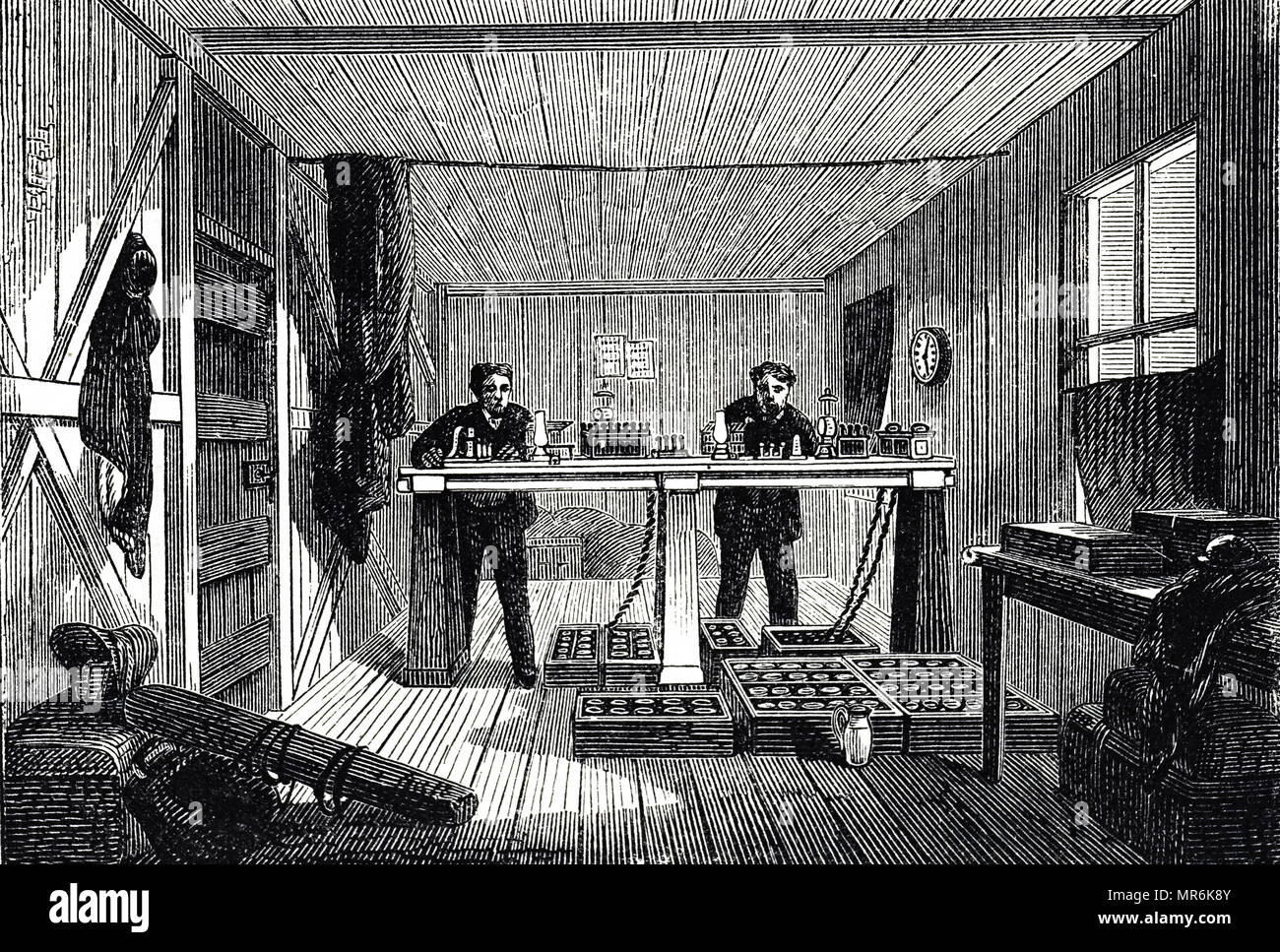 Engraving depicting messages being sent through the Atlantic Telegraph system from 'The Great Eastern' in the instrument room at Valencia. Dated 19th century - Stock Image
