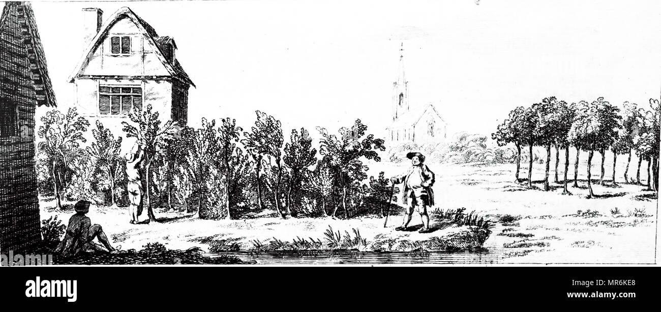 Woodblock engraving depicting a landowner inspecting immature coppice. Dated 18th century Stock Photo