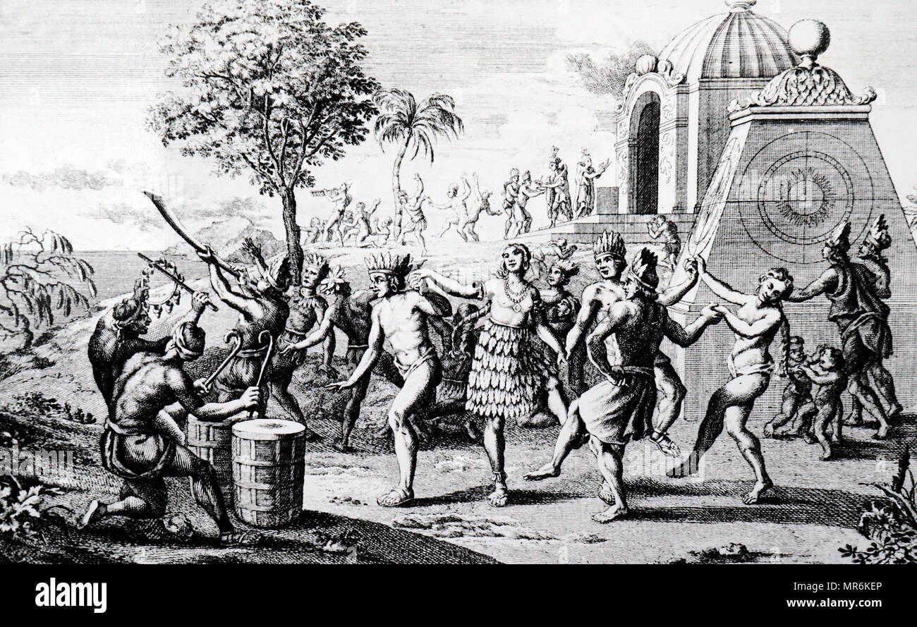 Engraving depicting Mexicans celebrating the beginning of a new age. Dated 18th century - Stock Image