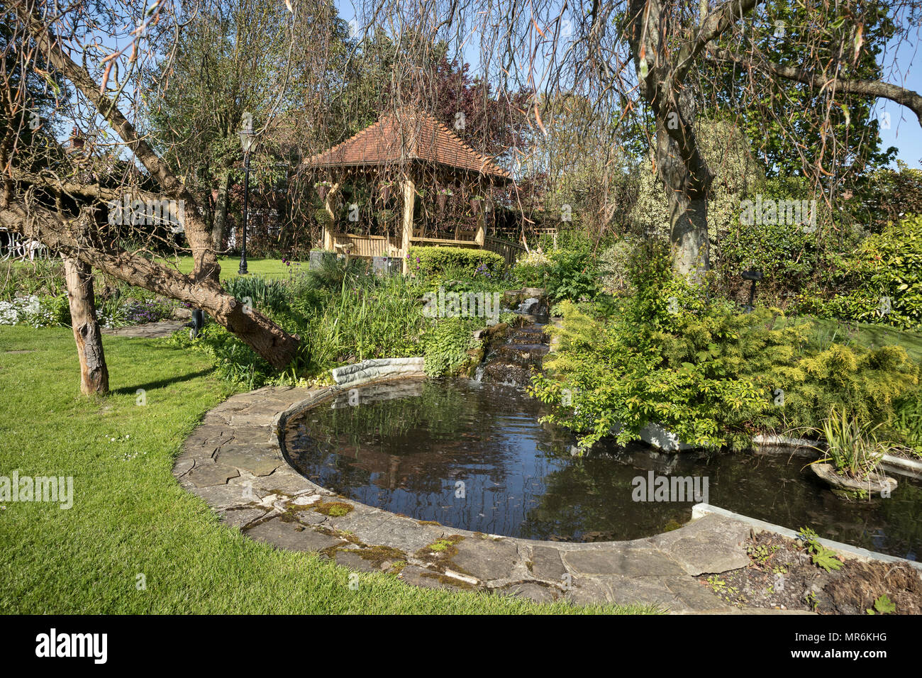 The duck pond and Millstream at The Millstream Hotel at Bosham, Near Chichester, Sussex, UK - Stock Image