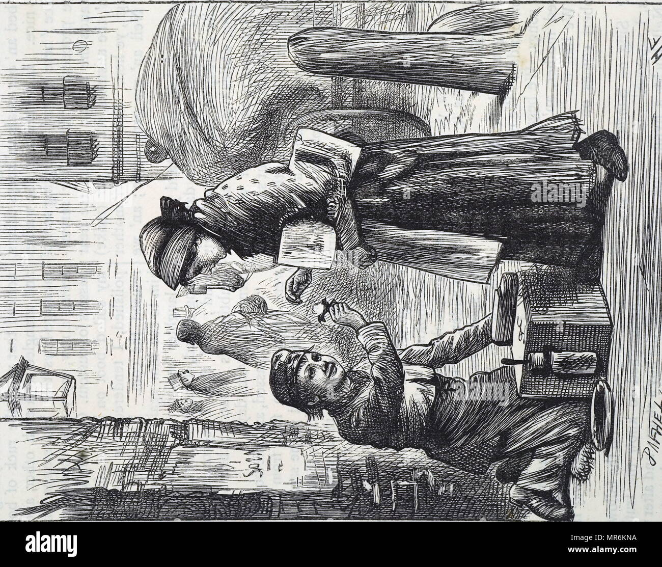 Engraving depicting a boot-boy giving a flower to a regular customer. Dated 19th century - Stock Image
