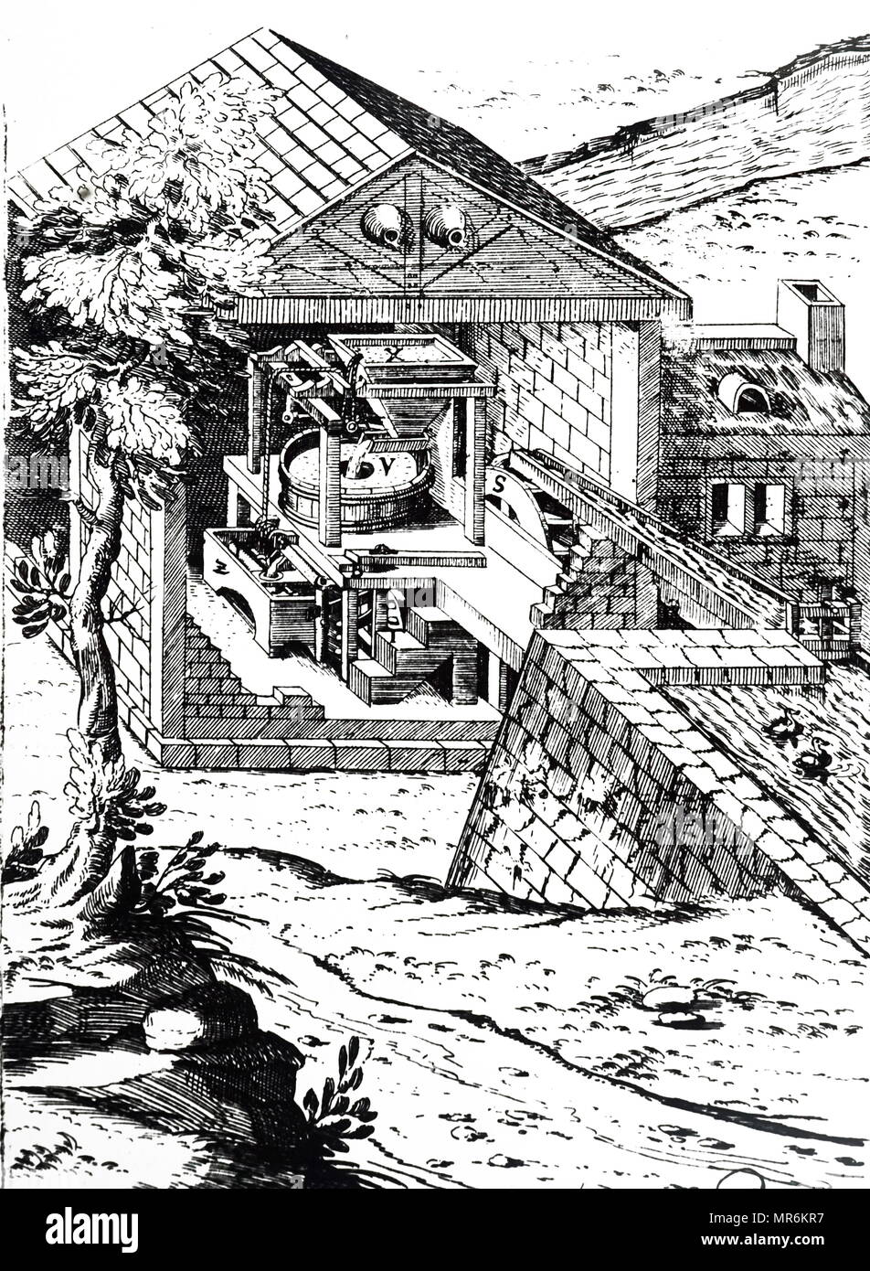 Engraving depicting a water-powered flour mill. Dated 17th century - Stock Image