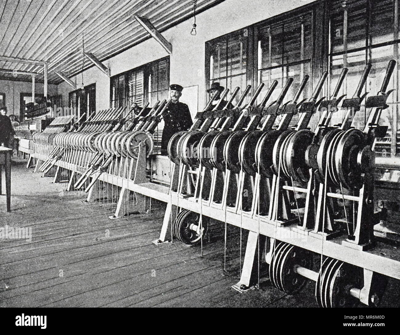 Photograph of the signal box in Dusseldorf station. Dated 19th century - Stock Image