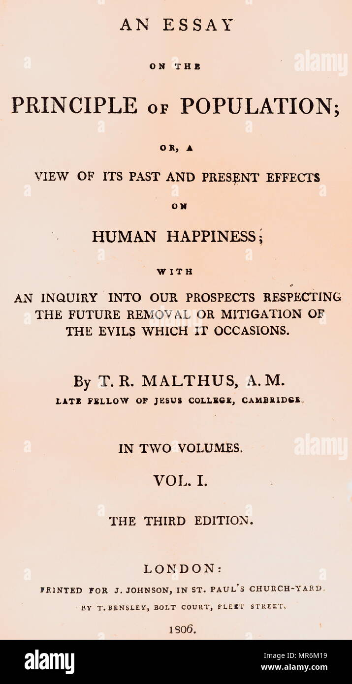 Title page of Principle of Population written by Thomas Robert Malthus. Thomas Robert Malthus (1766-1834) an English cleric and scholar, influential in the fields of political economy and demography. Dated 19th century - Stock Image