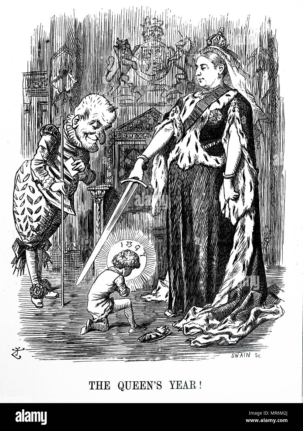 Cartoon commenting on Queen Victoria's Diamond Jubilee, 1897. Mr Punch presents the New Year to the Queen, and dedicating it to her. Illustrated by John Tenniel (1820-1914) an English illustrator, graphic humourist, and political cartoonist. Dated 19th century - Stock Image