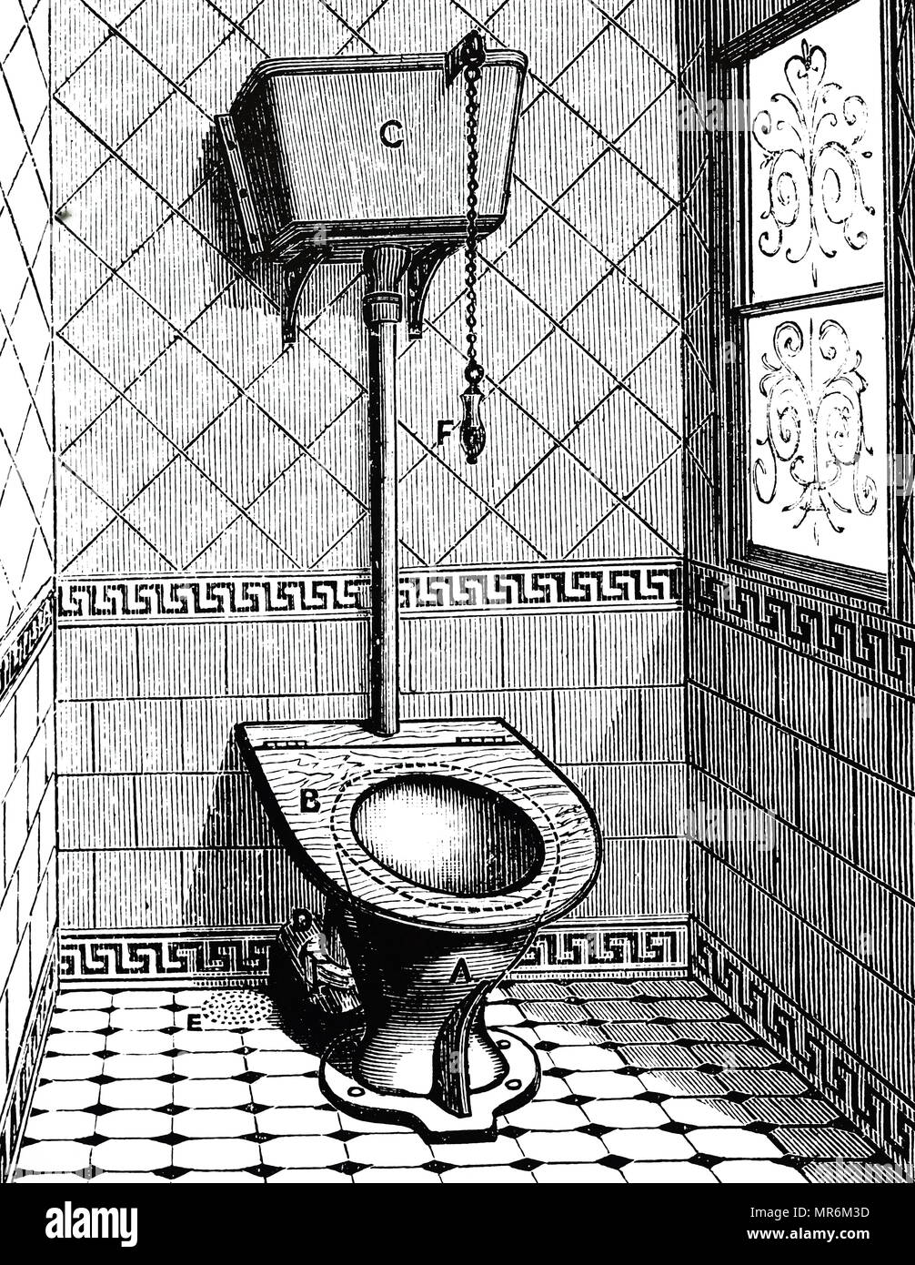 Engraving depicting a pedestal WC with siphon flushing system. Dated 19th century - Stock Image