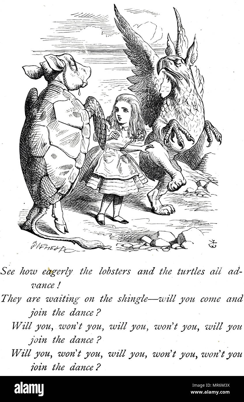 Illustration depicting Alice, Mock Turtle and the Gryphon from Alice's Adventures in Wonderland. Illustrated by John Tenniel (1820-1914) an English illustrator, graphic humourist, and political cartoonist. Dated 19th century - Stock Image