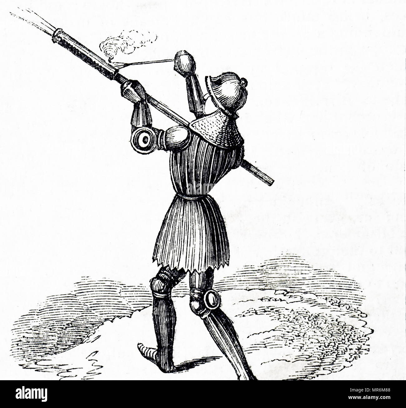 Woodcut engraving depicting a bâton à feu a type of hand cannon developed in the 14th century in Western Europe. Dated 15th century - Stock Image