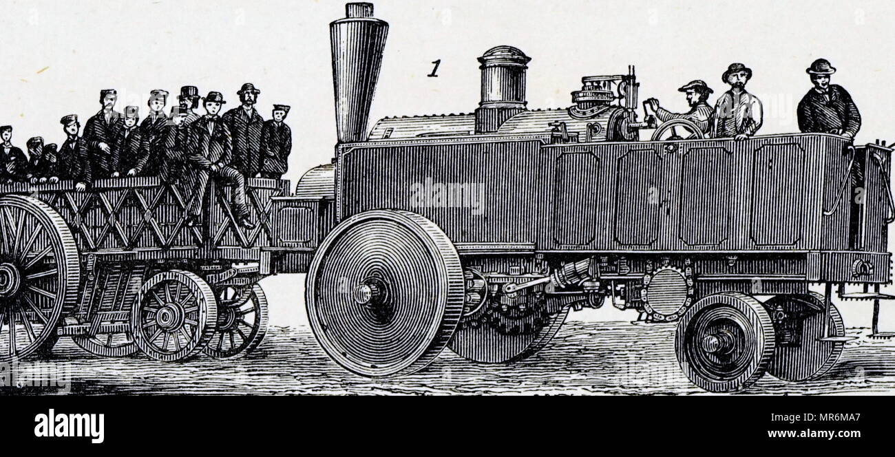 Engraving depicting a steam traction engine. Dated 19th century - Stock Image