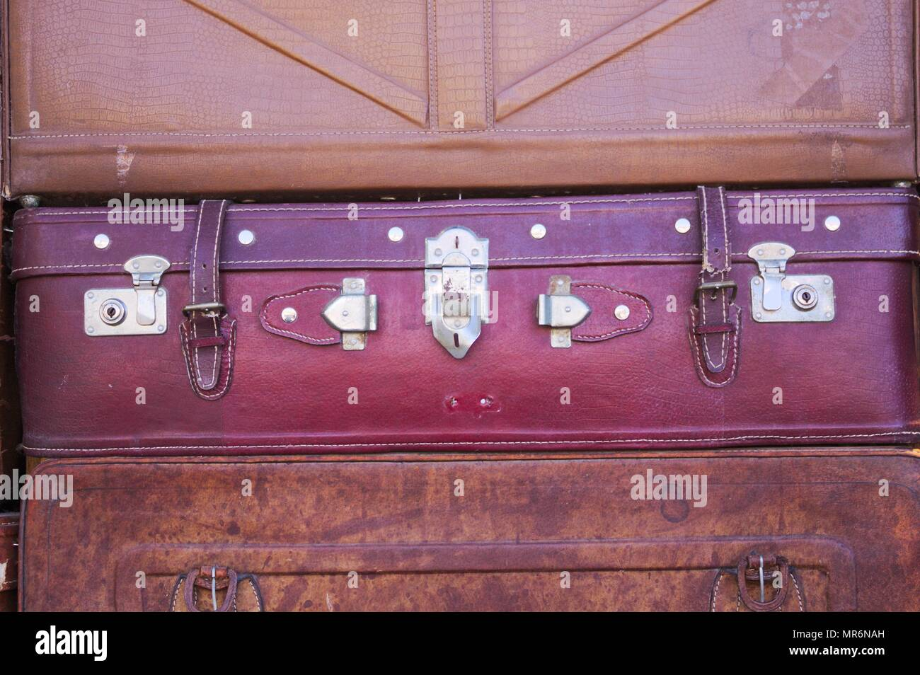 Vintage suitcase background (Old Town of Lijiang, Yunnan, China) - Stock Image