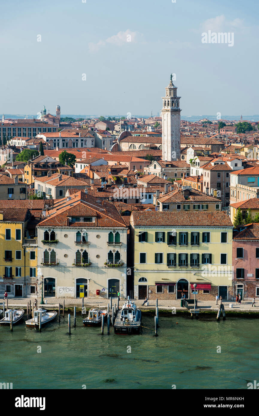 Italy: Venice. Overview of the city from the deck of the MS Westerdam cruise liner operated by Holland America Line. - Stock Image