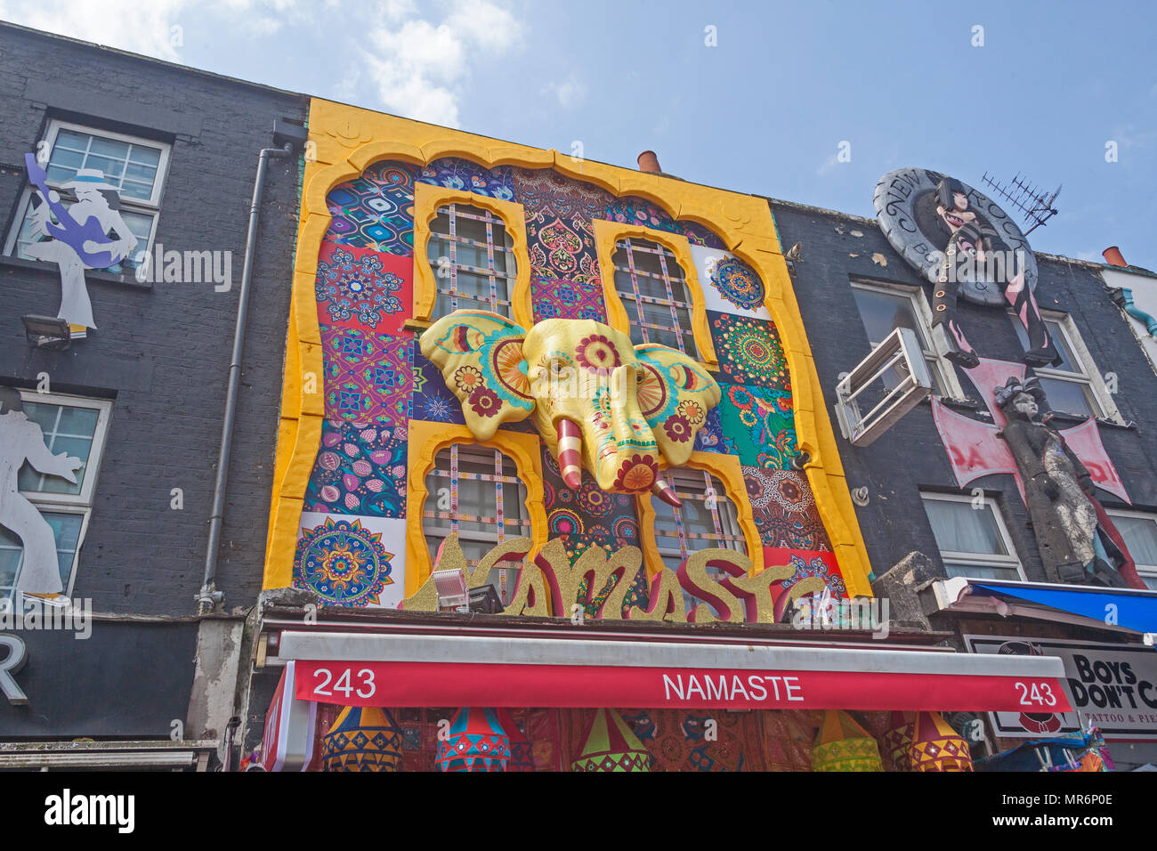 London, Camden.  Decorative shopfronts in Camden High Street - Stock Image