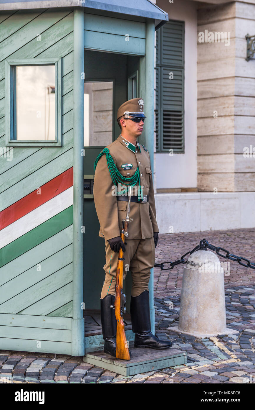 Budapest, Hungary - September 19, 2015: Ceremonial guard at the Presidential Palace. They guard the entrance of the Presidents office in the Sandor Pa Stock Photo