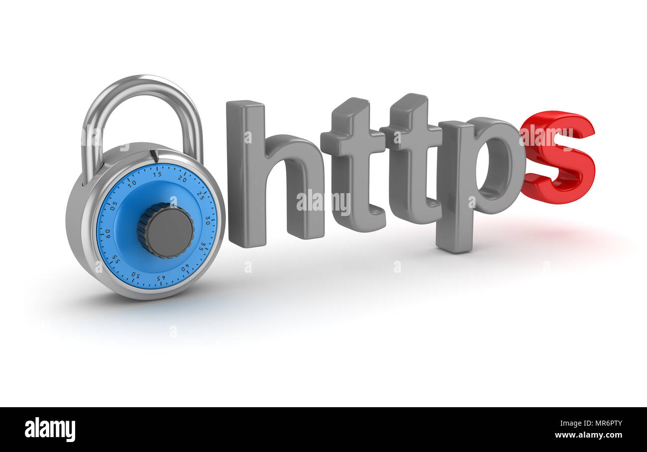 Https Internet Concept with Lock , This is a 3d rendered computer generated image. Isolated on white. - Stock Image