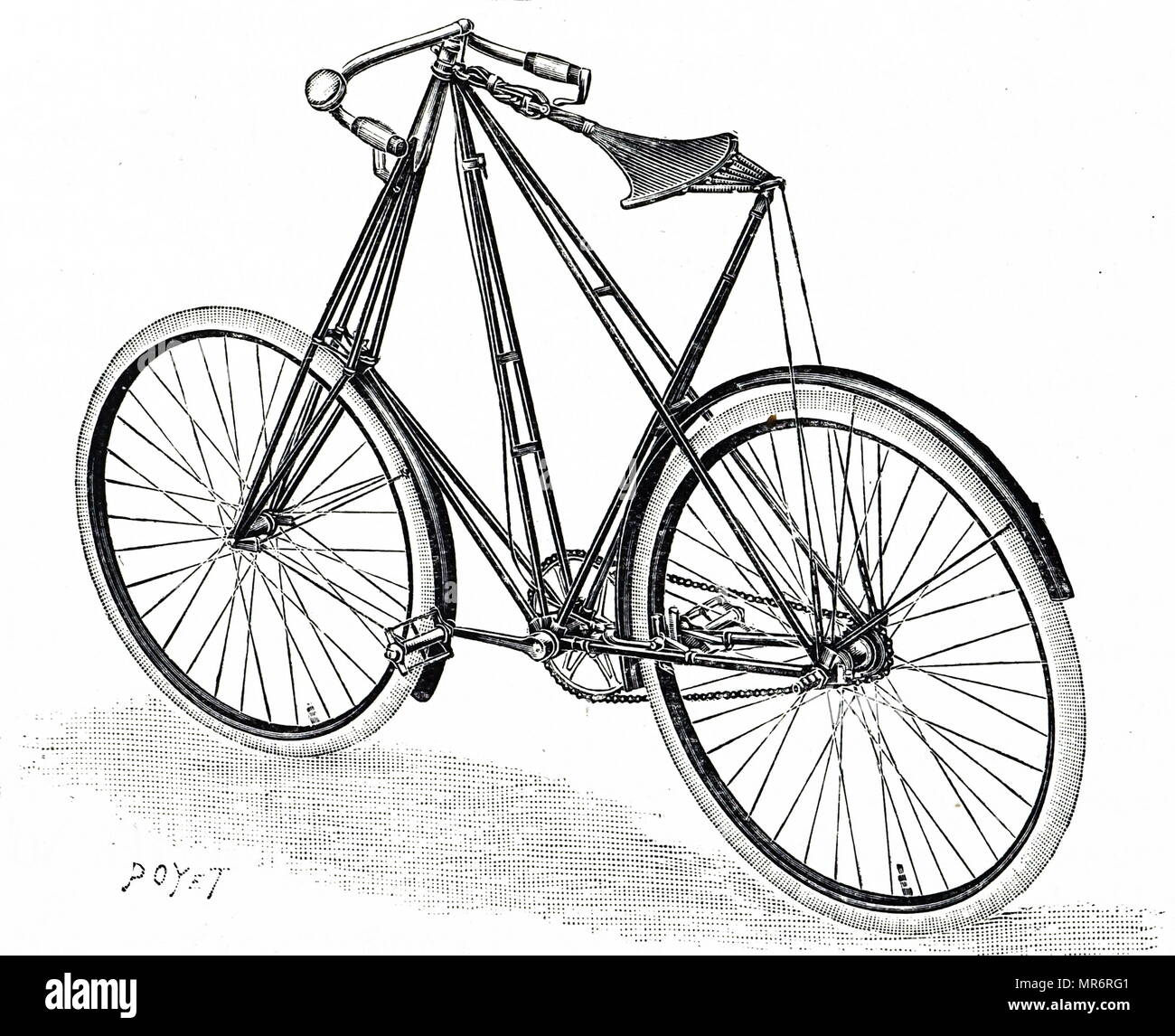 Engraving depicting Pedersen bicycle with a triangular frame. Dated 20th century - Stock Image