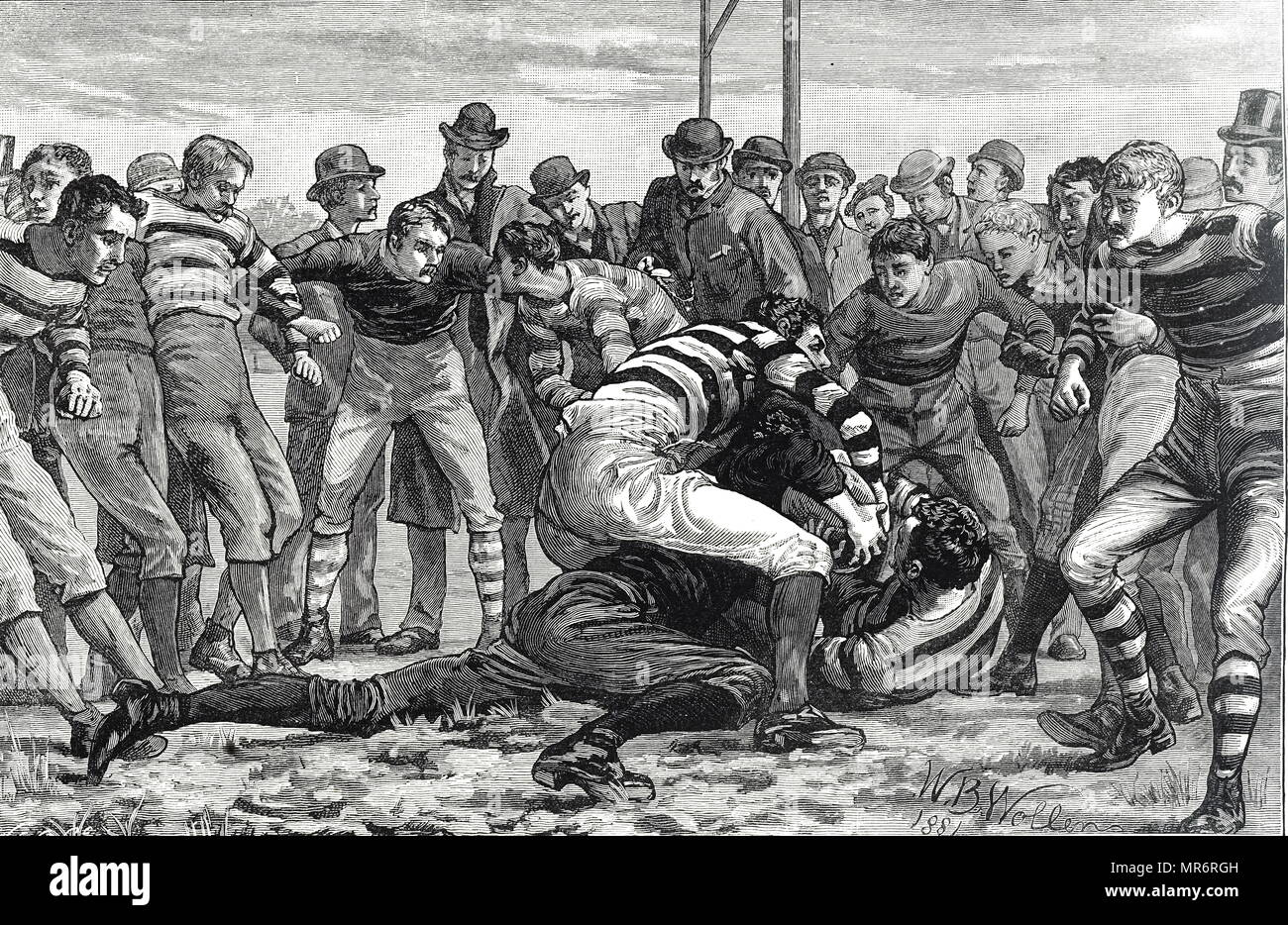 Engraving depicting men playing rugby. The Rugby Union rules mean that defenders try to prevent the opposition making a try. Dated 19th century - Stock Image