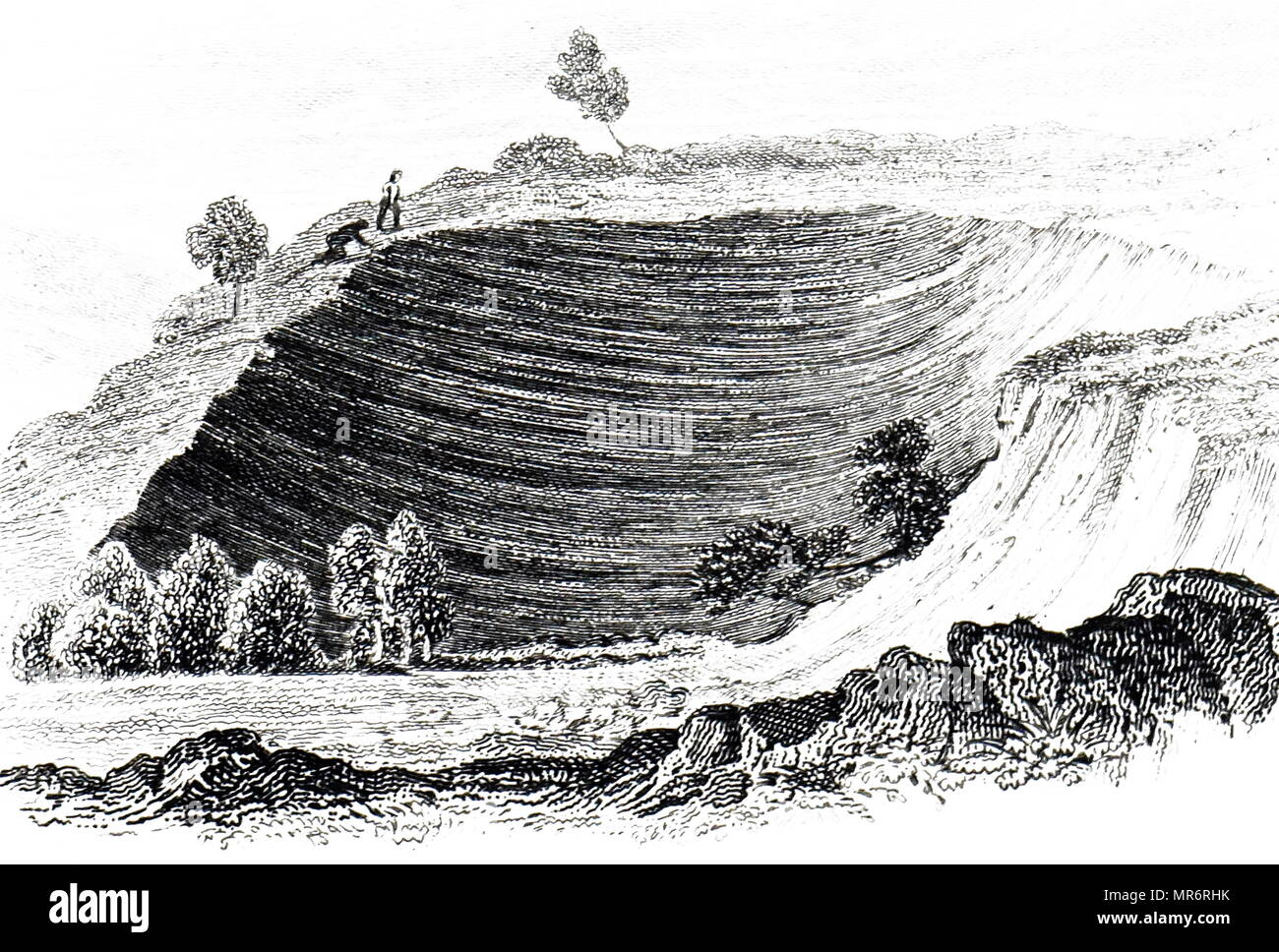 Engraving depicting a chasm, near Oppido, caused by the 1783 Calabria earthquakes. The earthquakes were a sequence of five strong earthquakes that hit the region of Calabria in southern Italy, the first two of which produced significant tsunamis. Dated 19th century - Stock Image