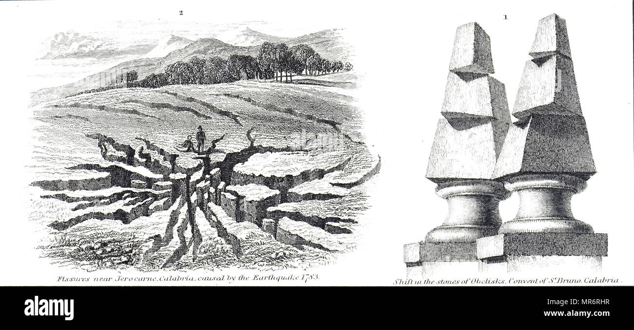 Engraving depicting a fissure in the ground near Jerocarne (left), caused by the 1783 Calabria earthquakes. The stone obelisks, at the convent of St Bruno, show signs of shifting (right). The earthquakes were a sequence of five strong earthquakes that hit the region of Calabria in southern Italy, the first two of which produced significant tsunamis. Dated 19th century - Stock Image