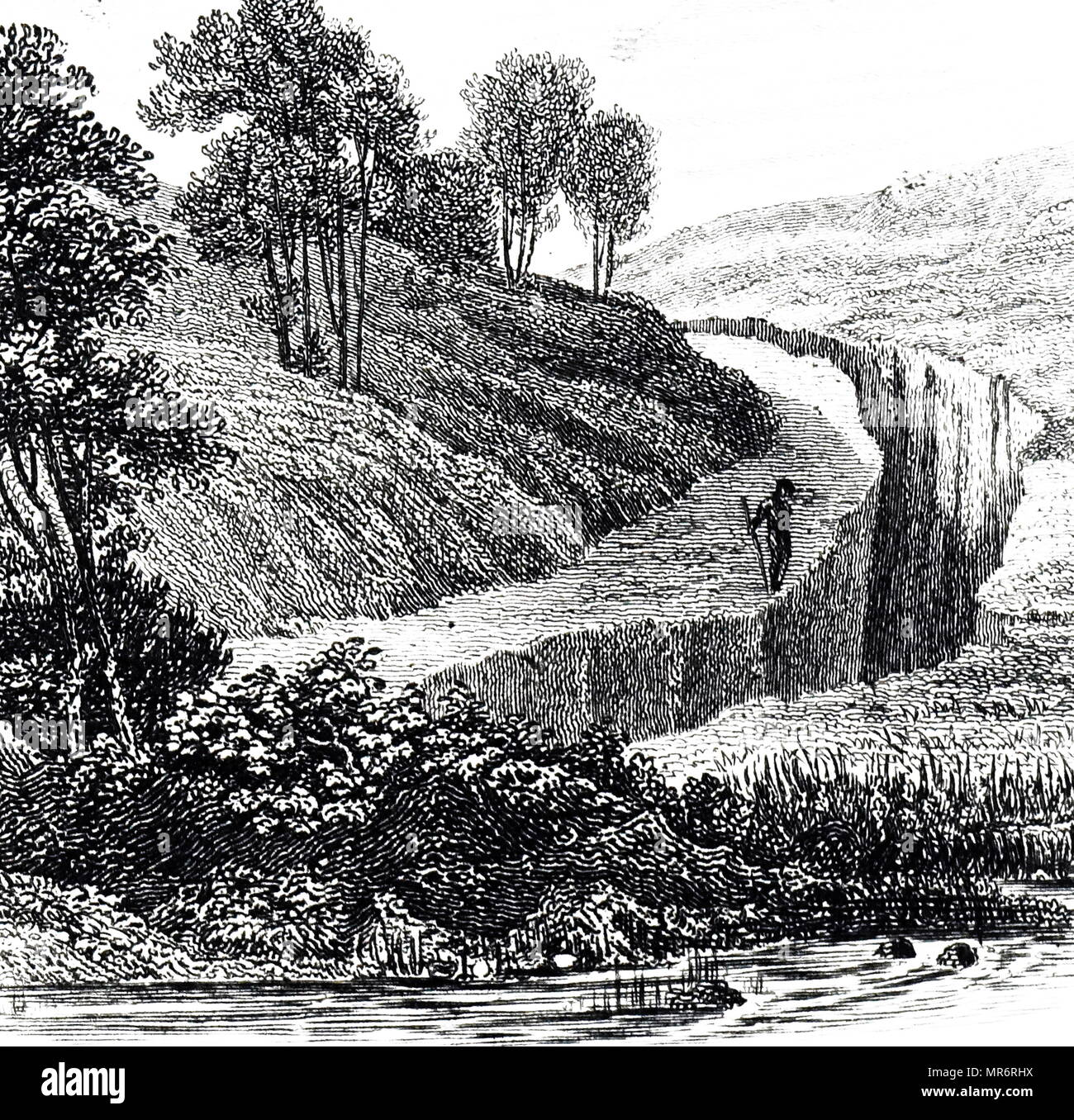 Engraving depicting a fissure in the hill of St Angelo near Soriana, caused by the 1783 Calabria earthquakes.  The earthquakes were a sequence of five strong earthquakes that hit the region of Calabria in southern Italy, the first two of which produced significant tsunamis. Dated 19th century - Stock Image