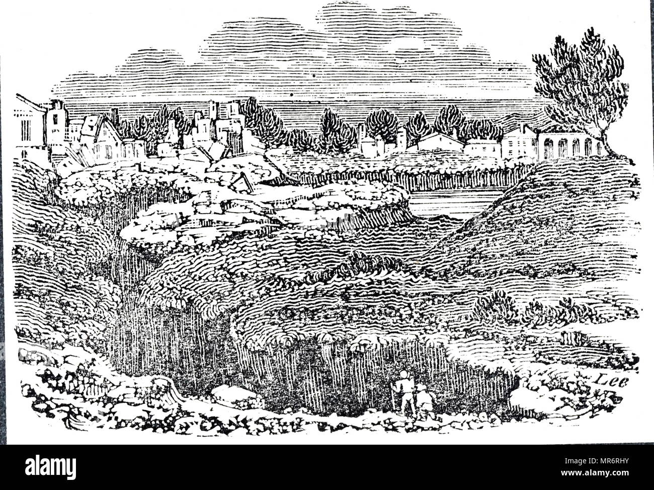 Engraving depicting a fissure in the ground near Polistena, caused by the 1783 Calabria earthquakes.  The earthquakes were a sequence of five strong earthquakes that hit the region of Calabria in southern Italy, the first two of which produced significant tsunamis. Dated 19th century - Stock Image