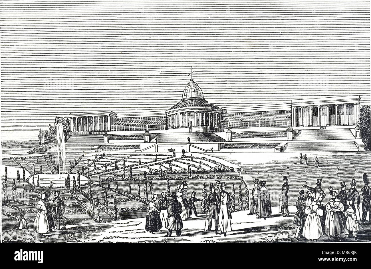 Engraving depicting Botanic Gardens in Brussels. Dated 19th century - Stock Image