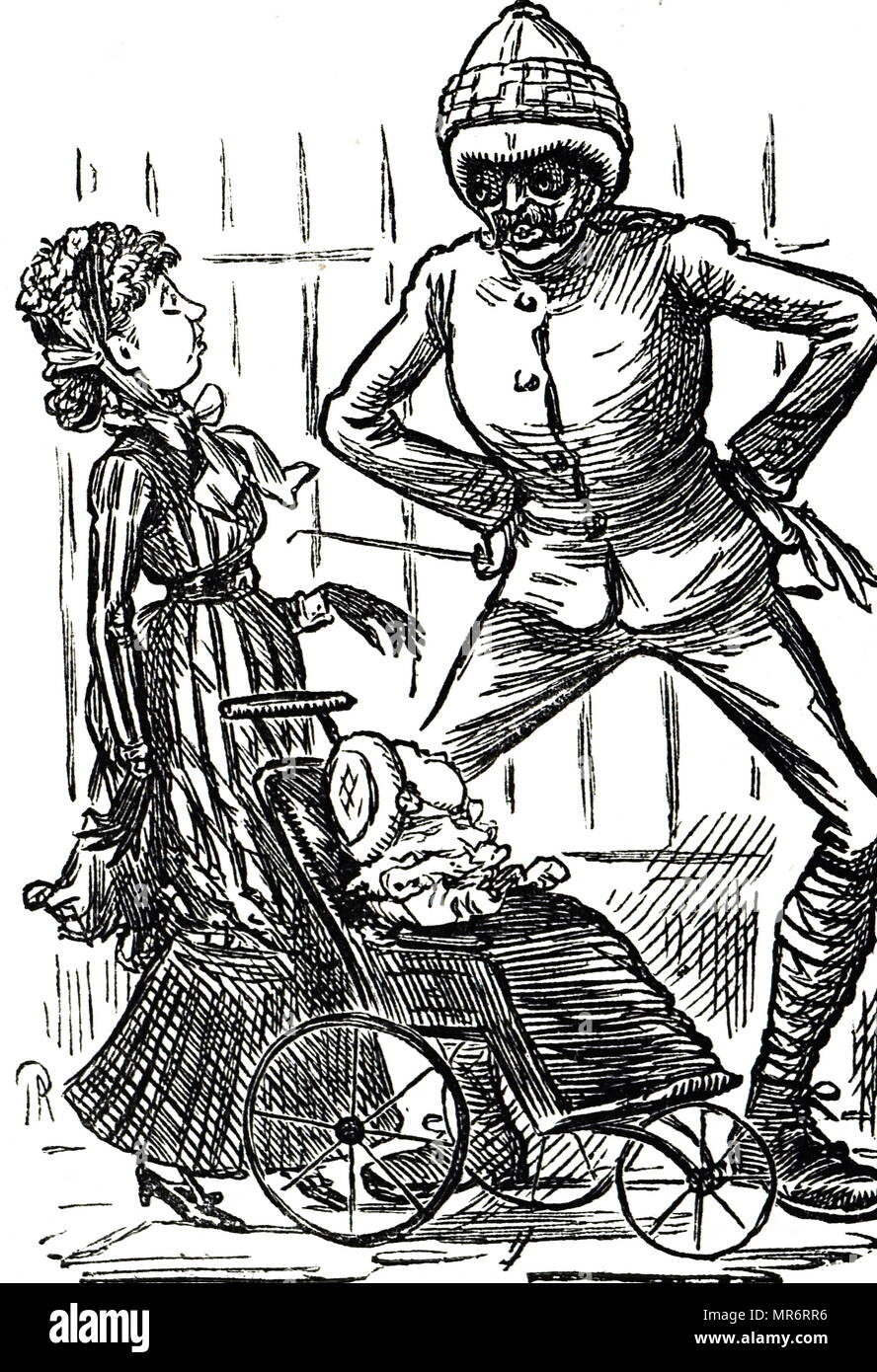 Cartoon commenting on the grotesque effect of a pitch helmet, sun goggles and puttees. Dated 19th century - Stock Image
