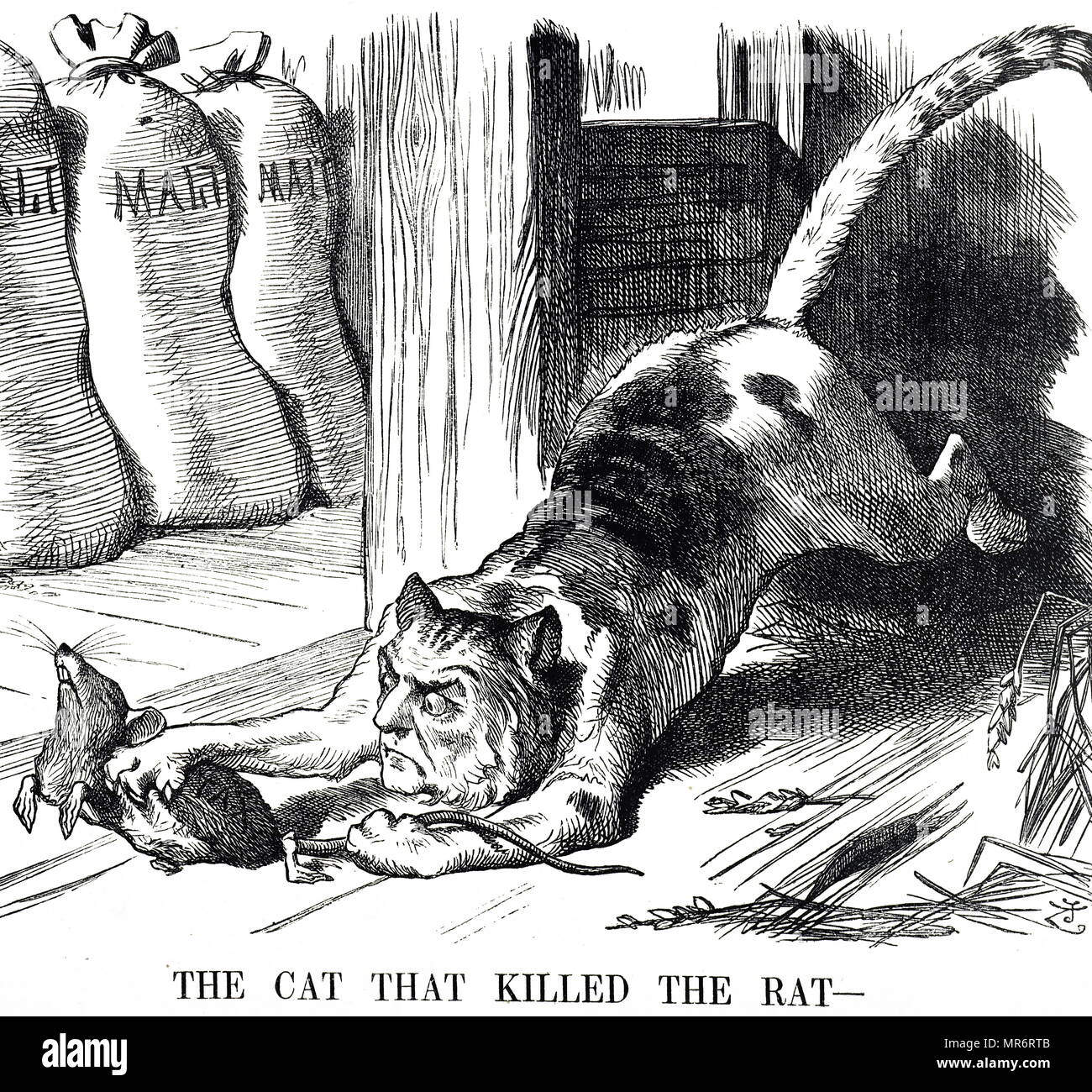 Cartoon commenting on the abolishing of Malt Tax in 1880. William Ewart  Gladstone is depicted as a cat who killed the rat (the tax). William Ewart  Gladstone (1809-1898) a British statesman of