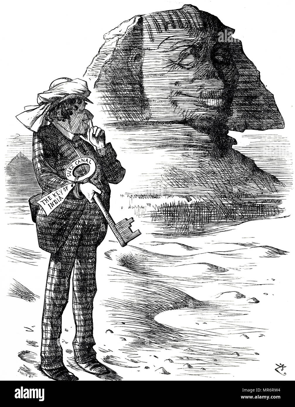 Cartoon depicting Prime Minister Benjamin Disraeli holding the Suez Canal as the key to the British possession and influence in India. John Tenniel (1820-1914) an English illustrator, graphic humourist, and political cartoonist. Dated 19th century - Stock Image