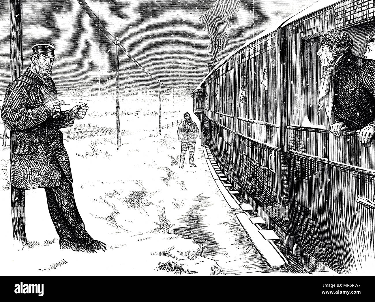 Cartoon depicting a train stranded due to bad weather conditions. Dated 19th century - Stock Image