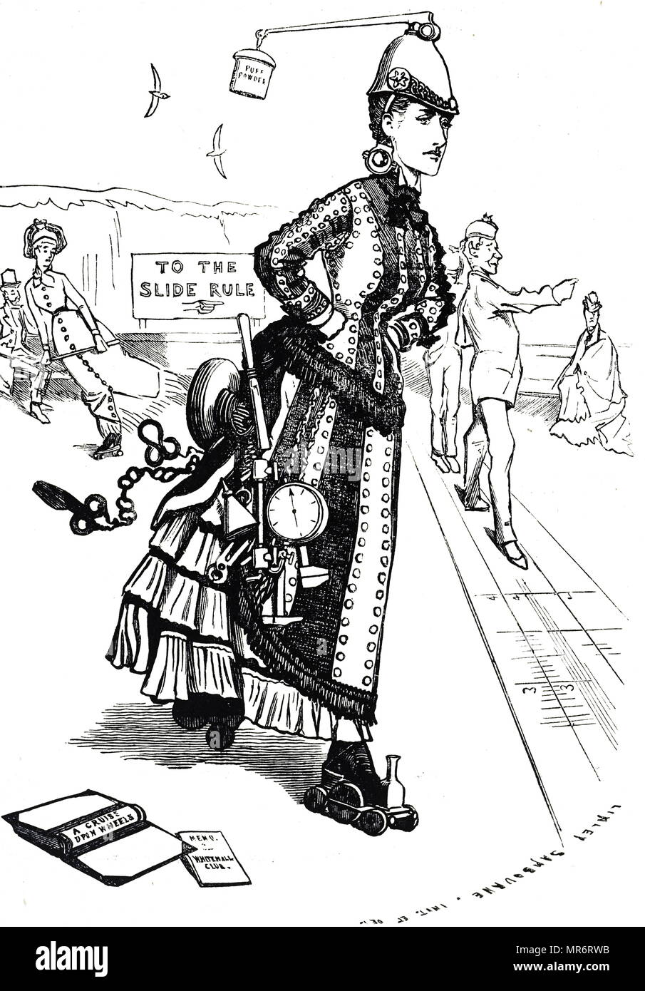 Cartoon commenting on the growing popularity of roller-skates in Great Britain. Dated 19th century Stock Photo