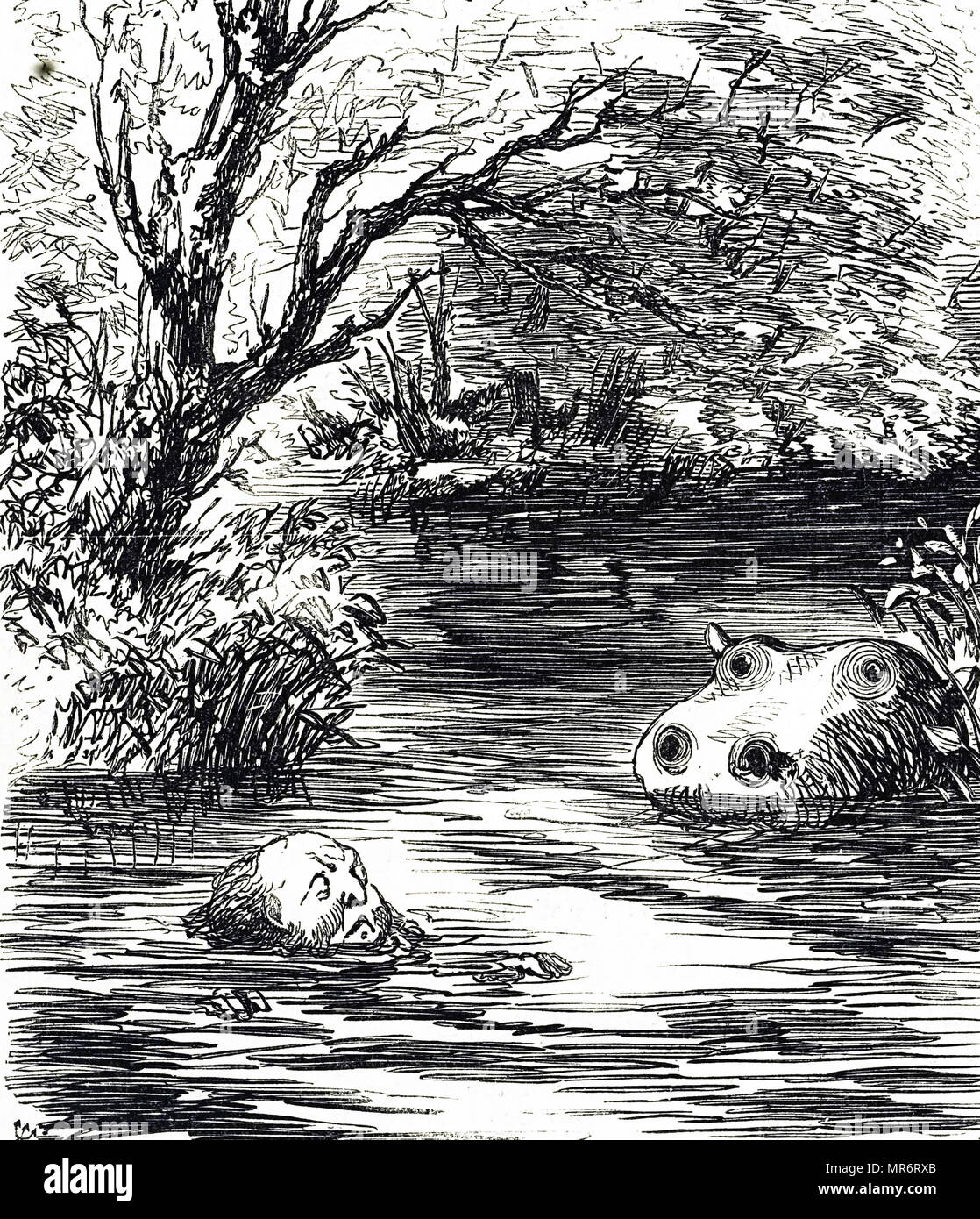 Cartoon commenting on the arrival of the new hippopotamus at Zoological Society in Regent's Park, London. Dated 19th century Stock Photo