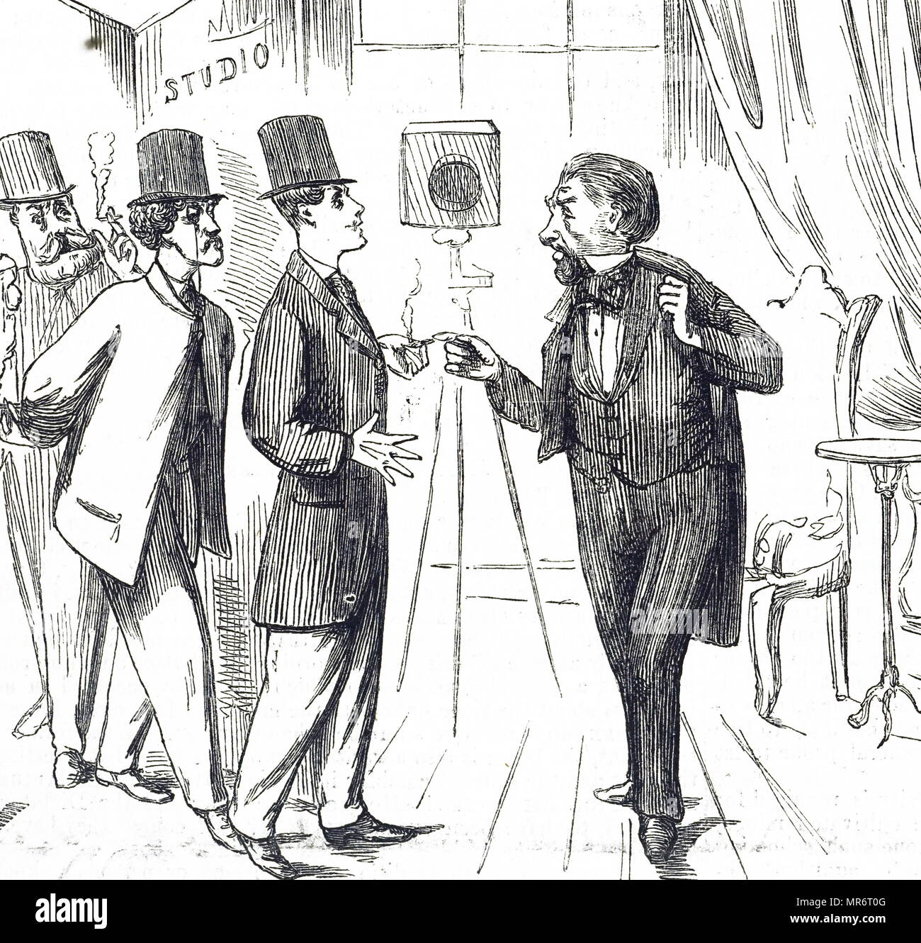 Cartoon depicting men queuing to have their photographic portraits taken. Dated 19th century - Stock Image