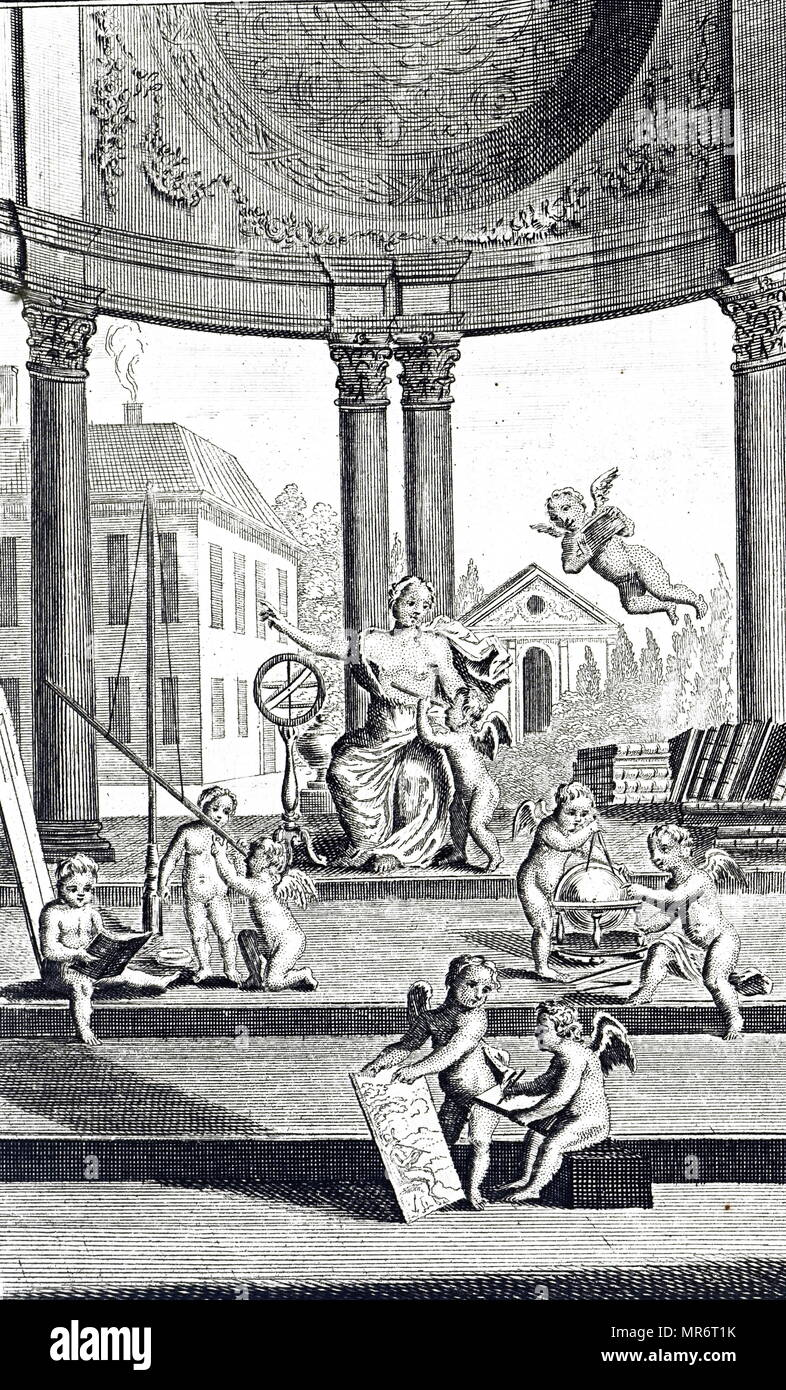 An allegorical frontispiece depicting the Learning, Reason and Art. Dated 18th century - Stock Image