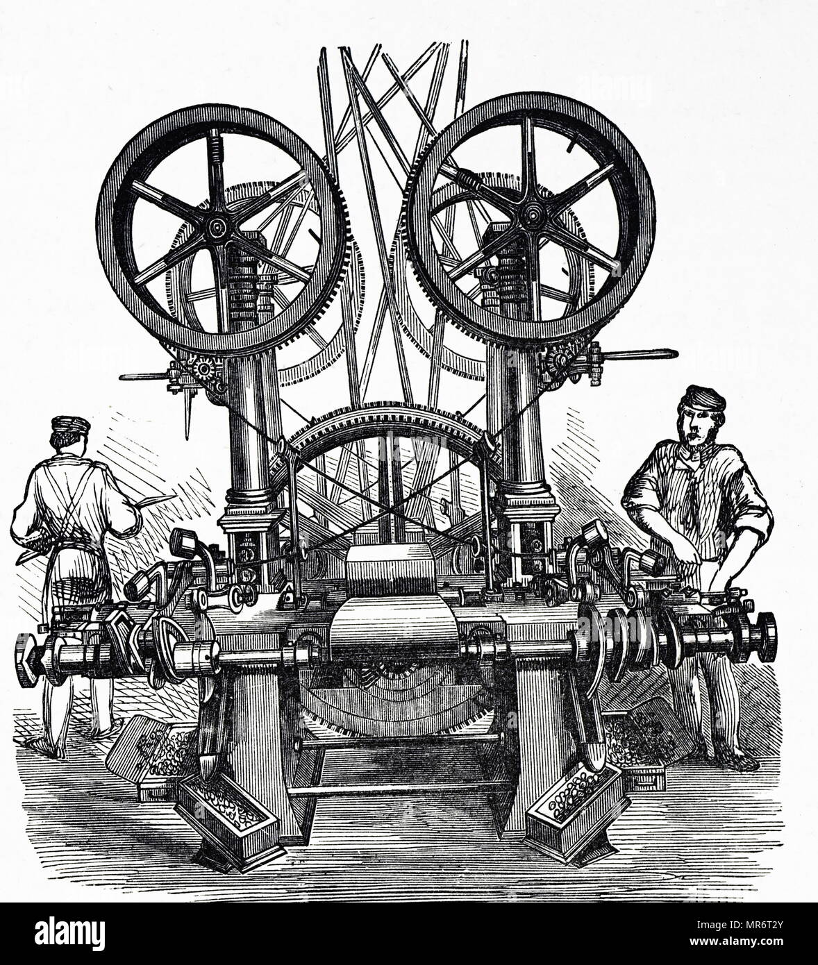 Engraving depicting the making of Minié balls at Woolwich Arsenal. The Minié ball was invented by Claude-Étienne Minié (1804-1879) a French Army officer and inventor. Dated 19th century - Stock Image
