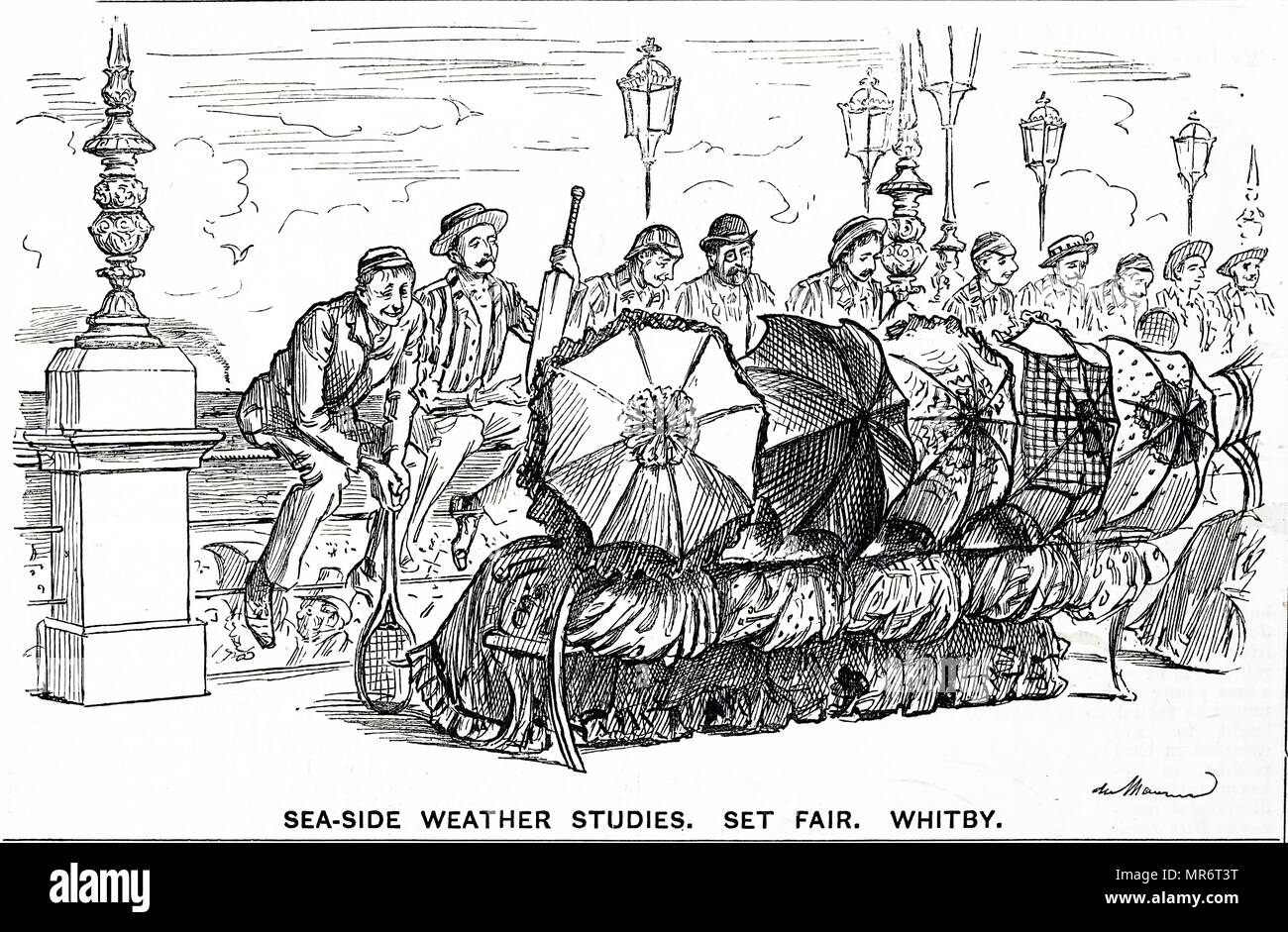 Cartoon depicting the seaside resort of Whitby. Before the days of cheap foreign travel, Whitby was a popular seaside resort with British holiday makers. Dated 19th century - Stock Image