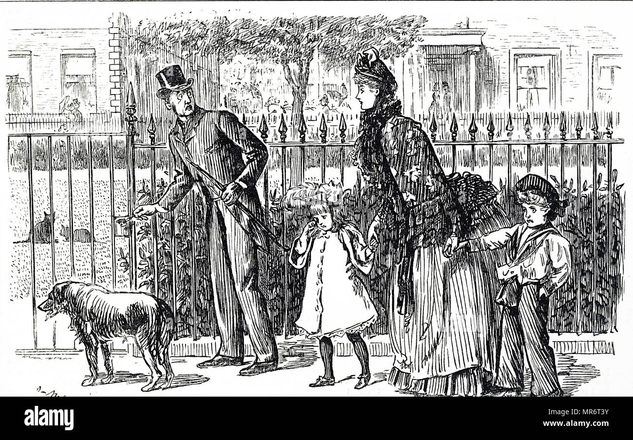 Cartoon depicting a family walking the streets of Victorian London. The young daughter seems to be throwing a tantrum, whilst the father frantically tries to unlock the cast iron gate. Illustrated by George du Maurier (1834-1896) a Franco-British cartoonist and author. Dated 19th century - Stock Image