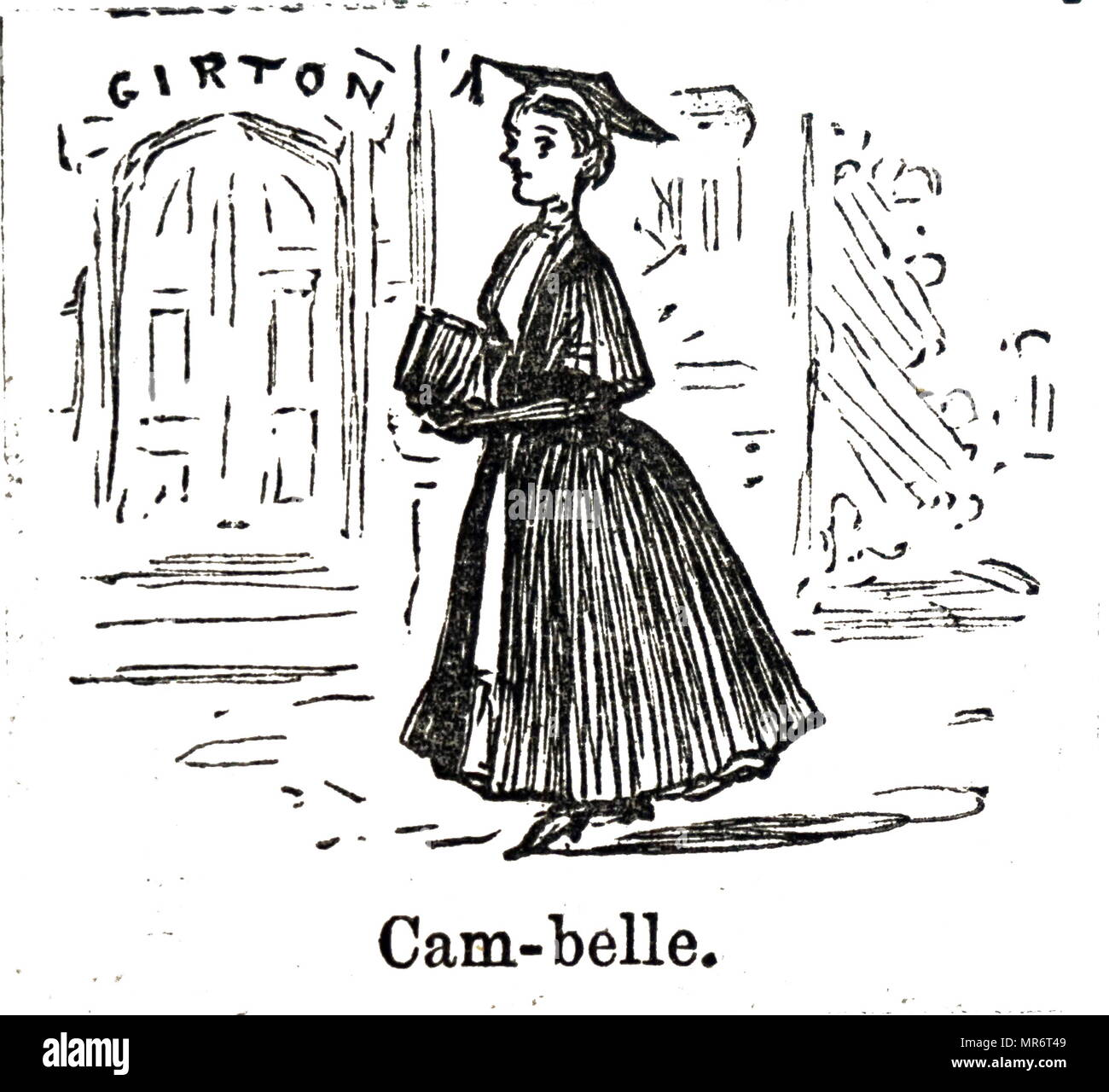 Illustration depicting a Cambridge Belle (Cam-belle) with Girton College in the background. Dated 19th century - Stock Image